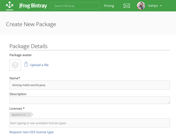 Bintray – New Package Details